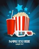 Kinoplakat mit Imbiß und Gläsern 3D. Lizenzfreies Stockbild