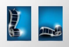Kinoschablonendesign der Front und der Rückseite dynamisches Stockbild