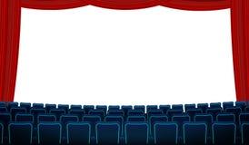 Kinowa sala z białym pustym ekranem, krzesłami i czerwoną zasłoną, Realistyczny błękit przewodniczy kin siedzenia stawia czoło ek ilustracji
