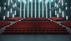 Kinowa sala z pustym ekranem i pustymi siedzeniami Nowożytny projekt z uderzającym oświetleniem, neonowy oświetlenie Audio system ilustracji