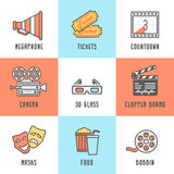 Kinowe ikony Ustawiać (megafon, bilety, odliczanie, kamera, Clapper deska, maski, bobina, popkorn, napój i 3D szkło,) ilustracja wektor