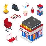 Kinowe teatru wektoru 3d isometric ikony i projektów elementy ustawiający Bilety, popkorn ilustracja dopatrywanie filmu pojęcie ilustracja wektor