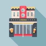 Kinowego teatru budynku szczegółowa płaska ikona royalty ilustracja