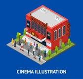Kinowej budynek karty Isometric widok wektor Zdjęcia Stock