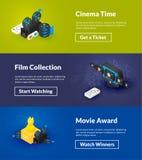 Kinowi czasu filmu kolekci i film nagrody sztandary isometric koloru projekt zdjęcia stock