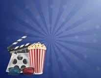 Kinowi pojęcie popkornu filmu bilety i 3d szkła dla przeglądać v ilustracja wektor