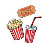 Kinowi przedmioty popkornu wiadro, sodowana woda i retro stylowy bilet -, Zdjęcie Stock
