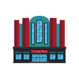 Kinowy budynek w mieszkanie stylu odizolowywającym na białym tle ilustracji
