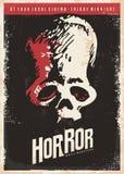 Kinowy plakatowy projekt dla horrorów ilustracja wektor