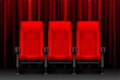 Kinowy przedstawienie projekt z czerwonymi pustymi siedzeniami Plakat dla koncerta, przyjęcie, teatr Realistyczni krzesła dla kin royalty ilustracja
