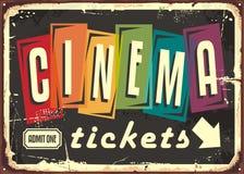 Kinowych biletów retro znak z kolorową typografią ilustracji