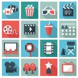 kinowych ikon odosobneni filmy ustawiają biel ilustracja wektor