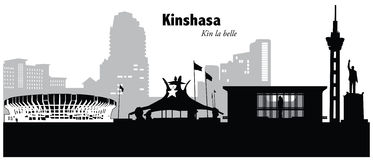 Kinshasa, Congo. Vector illustration of the skyline cityscape of Kinshasa, Congo Royalty Free Stock Image