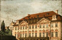 Kinsky Palace and Jan Hus Monument - Vintage stock photography