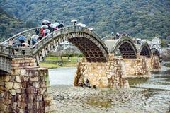 Kintai桥梁在岩国市 库存照片