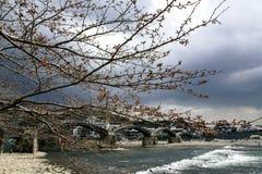 Kintai桥梁在岩国市 库存图片