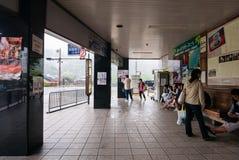 Kintai-kyo bus stop. Yamaguchi, Japan - May 6, 2016: Tourist waiting for bus at Kintai-kyo bus stop near Kintai Bridge (Kintaikyo) Famous Arch bridge in Iwakuni stock photo