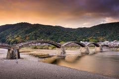 Kintaikyo Bridge of Iwakuni, Japan. At dusk Stock Photography