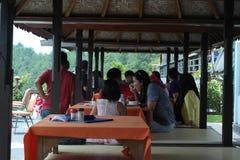 Kintamani登上的Batur餐馆 免版税图库摄影