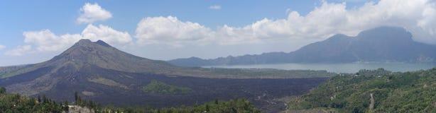 Mount Batur and Lake Batur in Kintamani, Bali Stock Photography