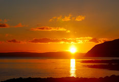 kintyre mull заход солнца Стоковая Фотография RF