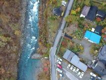 Kinugawa河和小镇在日光专区 库存图片