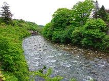 Kinugawa-Fluss, Nikko, Japan stockfotografie