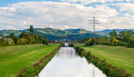 Kinzig river and Black Forest mountains. In Offenburg, Germany Stock Photo