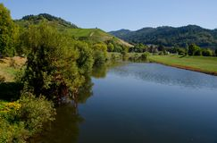 The Kinzig river in Gengenbach, Germany stock photo