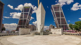 KIO towers or Gateway of Europe timelapse from Plaza de Castilla in Madrid, Spain. KIO towers or Gateway of Europe with monument timelapse from Plaza de stock video