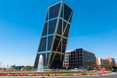 KIO Towers in Madrid, Spain. The Puerta de Europa towers (Gate of Europe or just Torres KIO) are twin office buildings in Madrid, Spain. Have a height of 114 m ( royalty free stock image