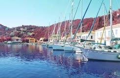 Kioni port at Ithaca Greece Stock Image