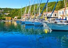 Kioni port på Ithaca Grekland Arkivbild