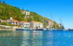 Kioni port på Ithaca Grekland Fotografering för Bildbyråer