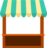 Kiosk With Awning. Farmers market kiosk booth stand with striped awning stock illustration