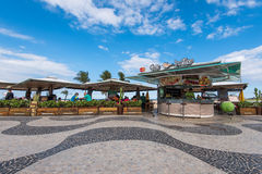 Kiosk in Copacabana. Rio de Janeiro, Brazil - July 18, 2016: Outdoor bar and restaurant on the pavement in Copacabana beach stock photos