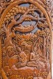 Kiosk för Chiang Mai, Thailand Suthep legendarisk tempelSsangyong bläddrande och konungen av Thailand Arkivfoton
