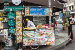 Kiosk in the street. Kiosk on the corner of the street in Bangkok Stock Images
