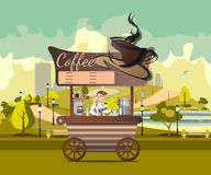 Kiosk, tent or Coffee Shop with coffee maker in park. Stand on wheels with Coffee. Cartoon Coffee market store icon Royalty Free Stock Images