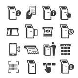 Kiosk terminal with interactive display icon set royalty free illustration