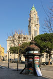 Kiosk and Town hall tower. Porto. Portugal Stock Photography