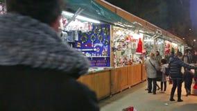 Kiosk with traditional Christmas gifts. BARCELONA, SPAIN - NOVEMBER 30, 2015: Kiosk with traditional Christmas gifts in evening. Barcelona, Catalonia. Christmas
