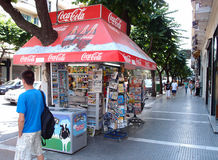 Kiosk. Traditional kiosk in Thessaloniki, Greece. This type of kiosk which sells many different items ranging from soft drinks,cigarettes,newspaper and more can royalty free stock image