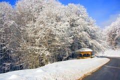 Kioski in snow mountain. Kioski under snow trees at Alps Royalty Free Stock Images