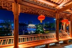 Gallery bridge-Ruzi Pavilion Park night. Kiosks in the city of Nanchang province Xihu District in Jiangxi, West Lake, named for the memorial of the Eastern Han Stock Image