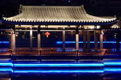 Ruzi Pavilion Park night. Kiosks in the city of Nanchang province Xihu District in Jiangxi, West Lake, named for the memorial of the Eastern Han scholar Xu ruzi Royalty Free Stock Images