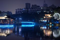 Ruzi Pavilion Park night. Kiosks in the city of Nanchang province Xihu District in Jiangxi, West Lake, named for the memorial of the Eastern Han scholar Xu ruzi Stock Photos