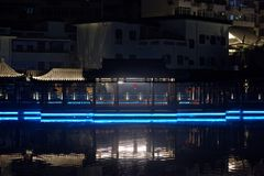 Ruzi Pavilion Park night. Kiosks in the city of Nanchang province Xihu District in Jiangxi, West Lake, named for the memorial of the Eastern Han scholar Xu ruzi Royalty Free Stock Photos