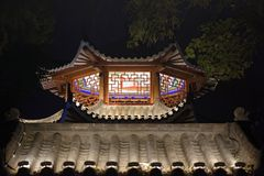 Pavilion and terrace-Ruzi Pavilion Park night. Kiosks in the city of Nanchang province Xihu District in Jiangxi, West Lake, named for the memorial of the Eastern Stock Image
