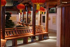 Classic corridor-Ruzi Pavilion Park night. Kiosks in the city of Nanchang province Xihu District in Jiangxi, West Lake, named for the memorial of the Eastern Han Royalty Free Stock Photography